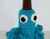 Turquoise Octopus Beer Bottle Cozy