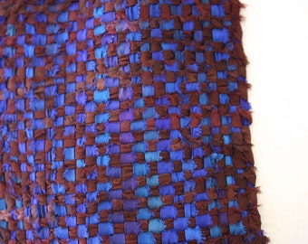 Handwoven Silk Ribbon Scarf in Blues and Browns