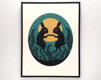Rabbit Moon Screenprint