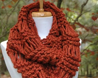 Cinnamon Spice Knit Infinity Scarf, Chunky Scarf, Hand Knit Scarf, Womens Scarves, Knitted Circle Scarf, Winter Scarf, Wool Scarf, Knit Cowl