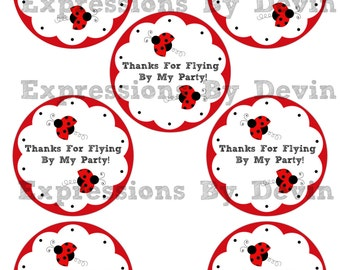 DIY Instant Download Printable 3 inch Little ladybug  Thank You Favor Tags