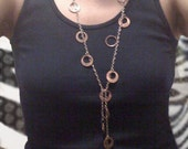 Penny Necklace, Long Ring Cut Pennies on Silver Plated Chain Connect at Bust Line w/ Belly Length Dangle, Handmade Lucky Penny Coin Jewelry