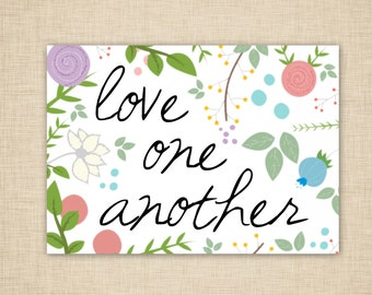 Love one another Wall Art - word art - printable