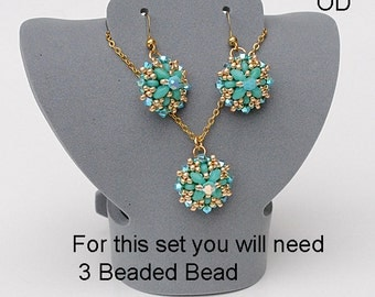 Beaded Bead Tyler. Kit. Turquoise. Material only.