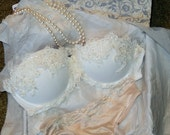 Something OLD Something NEW-Custom Handmade Bra and Pantie Set from Your wedding dress-grandmas heirloom-special memorie items