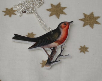 Robin Necklace, Christmas Bird Illustration Necklace