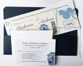 Disney Cruise line Mickey Mouse Boarding Pass Wedding Invitation, Pocket Nautical Ship Destination Wedding Invitations, ticket - Sample