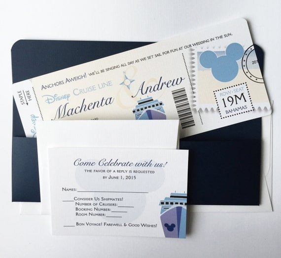 Wedding Invitations - This Disney Cruise or destination Wedding Invitation is perfect for any Disney Cruise Line Wedding. This invitation was designed a matchin