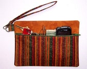 Striped Wristlet, Maroon Gold Green Clutch, Zippered Wallet, Metallic Makeup Bag, Camera or Phone Holder, Small Front Zippered Purse