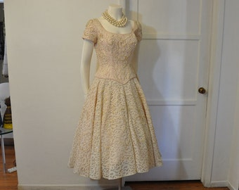 1950's Dress / Vintage 50's Rhinestone Embellished Lace Party Full Skirt Dress