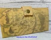 Handmade  Long Wallet  BiFold Clutch -Vegan Wallet - LOTR map of Middle Earth