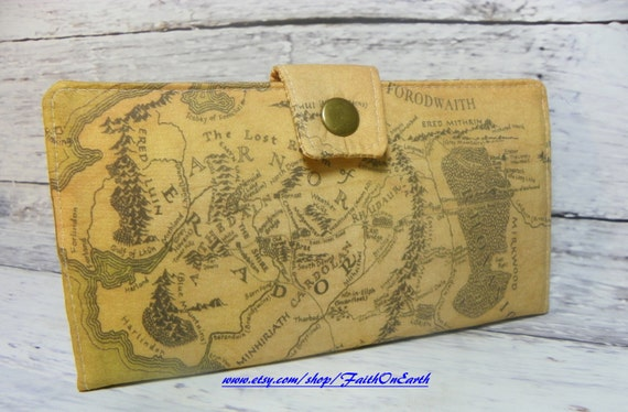 Handmade  Long Wallet  BiFold Clutch -Vegan Wallet - LOTR map of Middle Earth