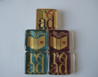 Fun Book and Read Square Glass Magnets Set of 5