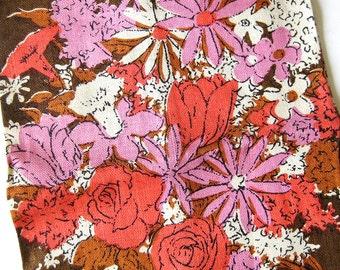 Vintage Linen Tea Towel Luther Travis Flower Bouquet Design  - Brown Pink Coral - Belgian Linen Tag