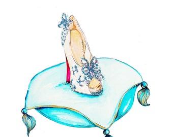 Cinderella Inspired Louboutin High Heel Fashion Illustration Print