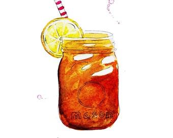 Sweet Tea In A Mason Jar Watercolor Illustration Print
