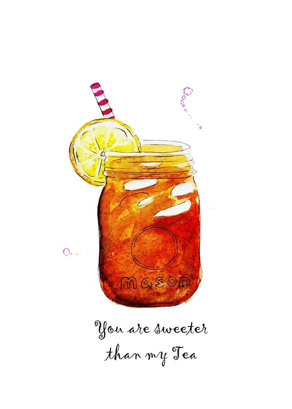 Sweet Tea In A Mason Jar Watercolor Illustration Print