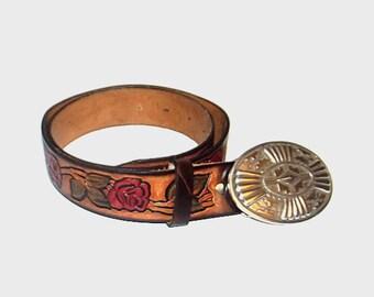 1970s belt / vintage 70s belt / tooled / Southwestern Rose Tooled Brown Leather Belt
