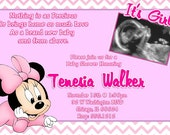 Minnie Mouse Invitations / Matching Bring A Book Card  / Printable Photo Card, Digital File