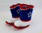 SALE  Baby Booties Crochet Red White & Blue  LITTLE AMERICAN Cowboy Boots Size 6 months only