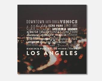 Los Angeles canvas art, LA neighborhoods, California city, typography print, canvas gallery wrap, black white red home decor, dorm wall art