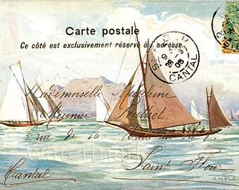 Sailboat Sail Boat French Postcard Altered Art Collage Victorian Post Card Ephemera Vintage Scrapbook Instant Digital Download Printable
