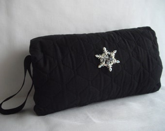 Black Muff Vintage Inspired Dressy Hand Muff Quilted Fabric Handmade by handcraftusa Ready To Ship