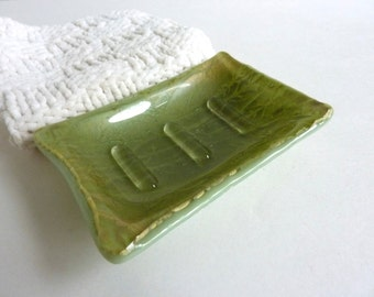 Celadon and Antique Green Fused Glass Soap Dish
