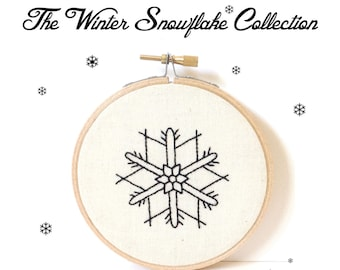 The Winter Snow Flake Collection ~ Fig 7. PDF Instant Digital Download  Snow Crystal Embroidery Pattern ePattern .