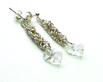 Sterling Silver Byzantine Clear Swarovski Heart Earrings-Chainmaille