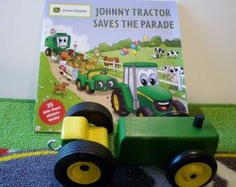 Toy Tractor and Book - Toy Green and Yellow Tractor and Johnny Tractor Saves the Parade Book - Handcrafted Wooden Green & Yellow Toy Tractor
