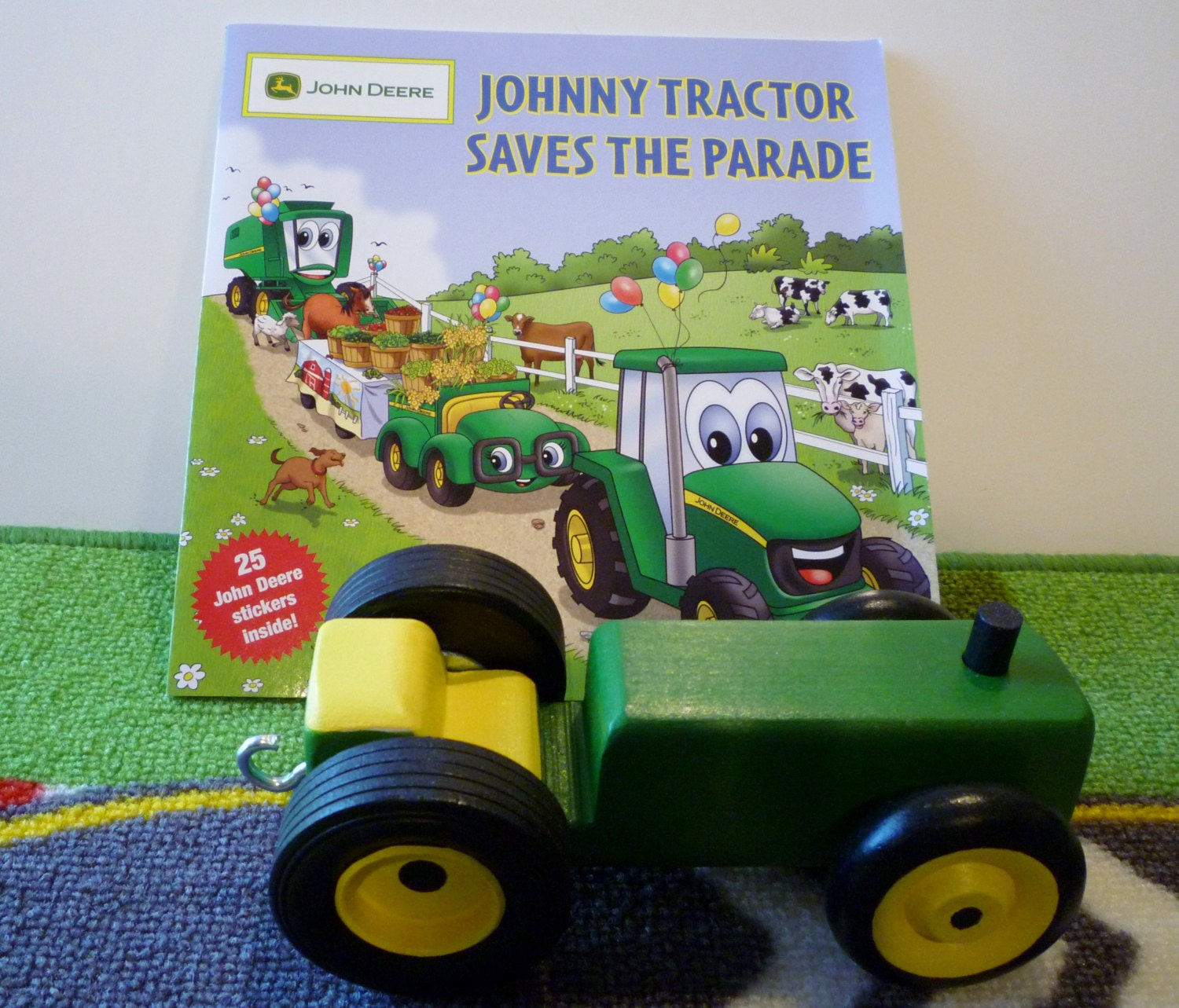 John Deere Tractor Cutouts : Toy tractor and book green yellow johnny