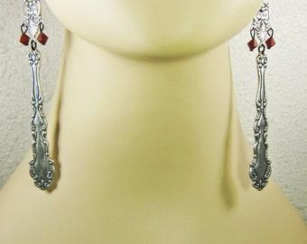 Silverware Earrings, Silverware Jewelry, Antique Silver, Shoulder Dusters, Neo Victorian, Renaissance Goth, Long Earrings, Handmade