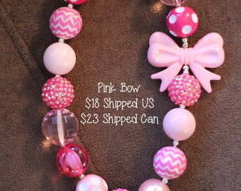 SALE 25% off! Pink Bow Chunky Bubblegum Necklace RTS