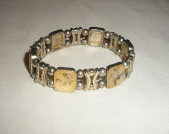 Vintage Silver Ablone Stretch Bracelet