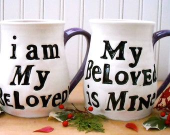 I Am My BeLoveds Personalized Mugs - Song of Solomon Quote, 2-Piece Set HandMade TO ORDER Custom Names Date 8th 9th Wedding Anniversary Gift