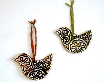 Woodland Peace Doves Pair, Gift Tags, Pendants, Tree Ornaments - 2 Rustic HandMade Chocolate Brown, Fern Green Eco Birds Hanging Decorations