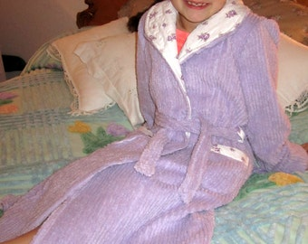 Girls Chenille Bath Robe / Finished and Ready To Ship, Size 8 / Or Made To Order
