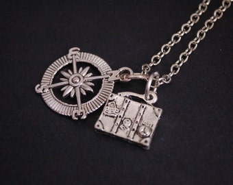 silver tone travel the world necklace