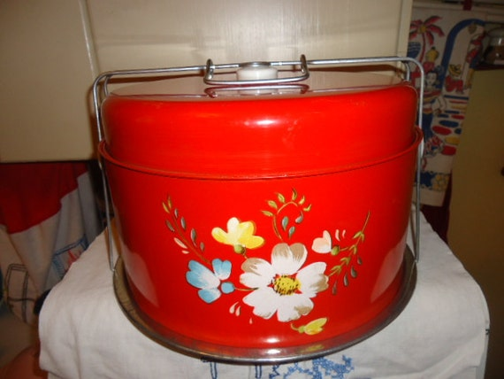 Charming Vintage Tin Litho Red Floral Cake Carrier