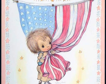 Holly Hobbie Embracing an American Flag Betsey Clark Hallmark Litho Patriotic Postcard 1975 Unused Suitable for Framing