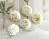 Fabric Buttons, Mini Small Wedding Gold Off White Japanese Blossom Floral Fabric Covered Buttons, Flat Backs, 0.65 Inches 5's