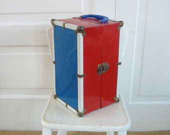 Vintage Doll Case, Red Blue Case, Metal Case, Child Case