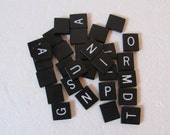 Black Scrabble Ipswich Game Letter Tiles No Numbers for Crafts and Altered Art