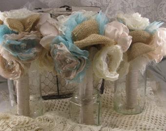 Bridesmaid  Bouquets Burlap and Lace Burlap Wedding Set of 4