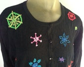 Christmas Sweater, Embroidered Snowflakes Sweater, Black Cardigan Sweater, Festive Winter Sweater, Cute Holiday Sweater Marisa Christina
