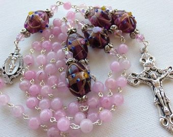 Handmade Pink Agate and Lamp Work Beaded Catholic Rosary, Handmade Rosaries, Handmade Jewelry, Custom Rosary,  One of a Kind Rosaries
