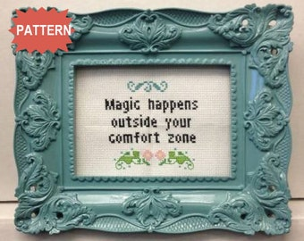PDF/JPEG Magic happens outside your comfort zone - Girls Quote (Pattern)