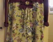 Upstyled  Cotton Stretch Sweater/Linen/Rayon Floral Skirt With Eyelet Ruffle And Funky Fringed Flower