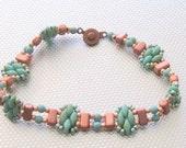 beaded bracelet picasso green beadwork tila bead super duo